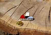 Colorado Cowboy Hat Lapel Pin Pinback Gold Tone Metal CO State Red White Blue