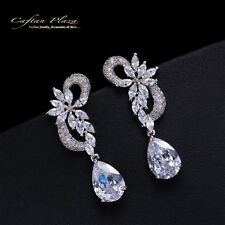Ohrhänger Luxury Ohrringe Zirkonia AAA Kristalle STELLUX™ Weissgold / Weiss