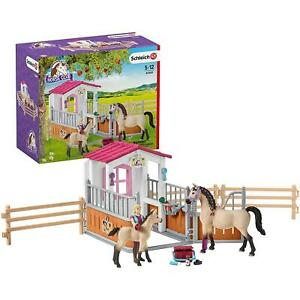 Schleich Hand Painted Figure Plastic, Toy - Horse Stall With Arab Horses & Groom