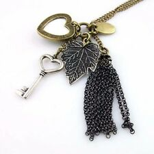 Fashion Long Sweater Chain Love Peacock Feather Leaves Key Tassel Necklace