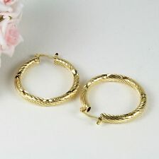E17 18K Yellow Gold Filled 3.5 cm Chunky Cut Design Hoop Earrings - Gift Pouch