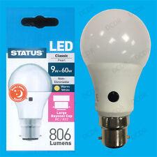 1x 9W = 60W LED GLS Sensor Anochecer Seguridad Noche Bombilla BC B22 Lámpara