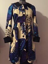 Coat women size 8 med Betsey Johnson Blue Purple Black White Spring Butterfly