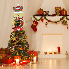 More details for 2021 new christmas snowman santa elk tree cover topper xams decoration top hat