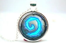 World of Warcraft Heartstone Silver Tone Photo Glass Dome Necklace Pendant Gift