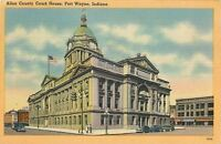 Fort Wayne Indiana~Allen County Court House Street View~Folk on Corner 1940 PC