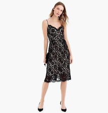 NWT J.CREW Guipure Lace Spaghetti Strap Dress Black Size 0, MSRP $198