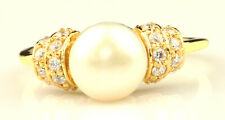 14KT Yellow Gold Natural Freshwater Pearl 3.00Ct EGL Certified Diamond Ring