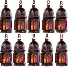 10 Lot Enchanting Cutwork Lantern Amber Glass Candleholder Wedding Centerpieces