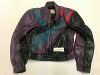 "MQP Vintage Leather Motorbike Jacket Armpit 22"" Length 23"" Label 52  (mc1054)"