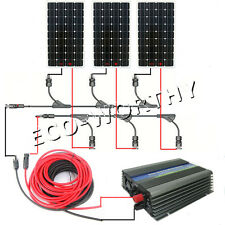 COMPLETE KIT: 3*160W Mono Solar Panel w/ 500W Grid Tie Inverter 12V Home Power