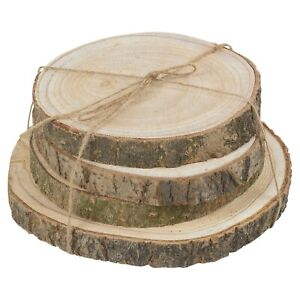 4 Pcs Natural Round Wooden Slice With Bark Table Centerpiece Wedding Home Décor