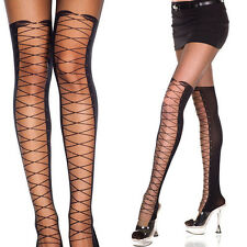 Black Mock Spandex Sheer Thigh-Highs Faux Corset Lace-Up Design Full Pantyhose