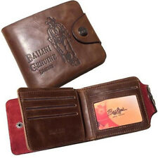 Mens Genuine Leather Bifold Wallet Purse Business Credit Card Holder Brown ID