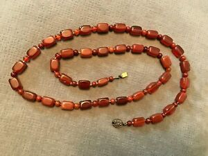 Vintage Amber Brown Glass Long Bead Necklace 32inch