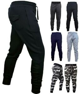 Mens PREMIUM Joggers Fleece ZIP POCKETS Bottoms Jogging Pants Gym Sports Casual