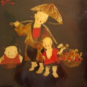Going market with mother Orig lacquer painting Pham Thanh Nga b 1974 HIFAC1998