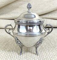 ERCUIS Silver Plated Sugar Bowl Lidded Sucrier French Empire Perles Louis XIV