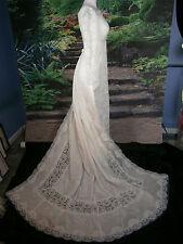 VTG BRIDAL FORMAL WEDDING GOWN 4 - 6 DRESS IVORY COLUMN SHEATH DETACH TRAIN USA