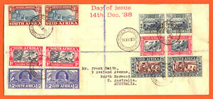 SOUTH AFRICA - 1938 - VOORTREKKER CENTENARY & COMMEMORATION SETS (6 PAIRS) - FDC