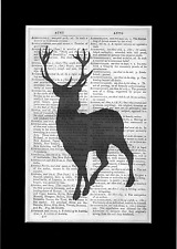 UNIQUE Stag Print Vintage Dictionary Page Wall Art Picture Deer Upcycled RARE