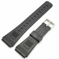 Classic Black Rubber Wrist Watch Band 20mm 22mm Strap Stainless Steel Pin Buckle