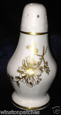 "HAMMERSLEY ENGLAND ELEGANCE SALT PEPPER SHAKER 4 1/8"" GOLD FLOWERS & TRIM"