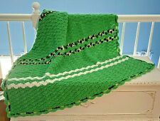 "Afghan Seashell Large Crochet Throw Blanket Green Purple White 53"" x 68"""