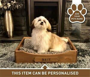 Personalised Rustic Wooden Dog Bed Puppy Crate Cat Bed Basket Gift (DBM)(EM)