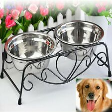 Double Dog Pet Bowls Dish Stainless Steel Stand Feeder Cat Food Water Bowl TP