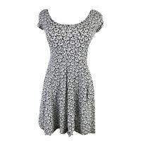 AEROPOSTALE Women's Small Black White Daisy Print Criss Cross Back Skater Dress