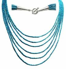 Multi-strand turquoise bead sterling silver toggle necklace