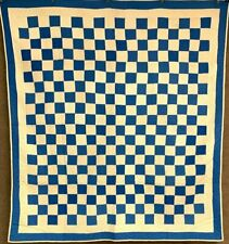 Fall Extravaganza! 1900s Blue Checkerboard Quilt Vintage Lancaster Co Pa