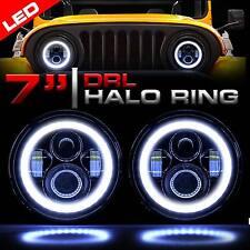 7 Inch Round LED Headlights Halo Angle Eyes For Jeep CJ Series CJ5 CJ6 CJ7