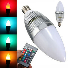 E12 3W LED Candle Lamp Candelabra Candlestick RGB Spot Light Bulb Remote Control