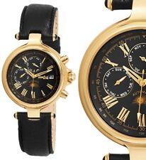 Unisex Automatik Armbanduhr Schwarz/Gelbgold Lederarmband ENGELHARDT 209€ UVP