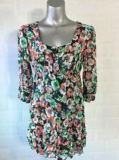 SIZE 10 PER UNA CRINKLE CHIFFON TUNIC VINTAGE POPPY PRINT BROWN RED WHITE SPRING