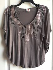 Free People women's Grey Jersey Studded Fashion Top size XS