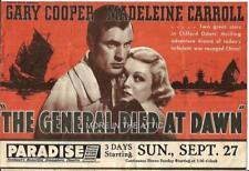 GARY COOPER MADELIEINE CARROLL GENERAL DIED AT DAWN ORIG US FILM HERALD