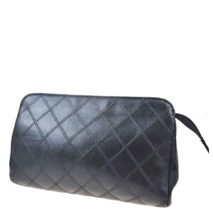 Auth Chanel Bicolor Leather Pouch Black 07FB639