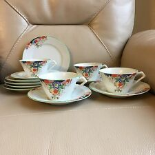 Vintage Art Deco 1930s Malta Hand Painted Tea Coffee Set 13 Piece G.B.Delia