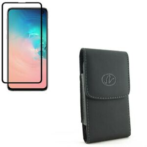 Galaxy S10e - Leather Case Belt Clip w Tempered Glass Screen Protector Holster