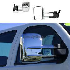 For 14-16 Silverado Sierra 1500 Pickup MANUAL Telescoping Towing Mirrors CHROME