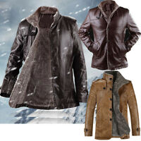 Mens Winter Fur Fleece Leather Medium Long Slim Jacket Coat Windbreaker Blazer