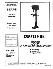 15 Inch Floor Model Drill Press 113-213853 Instruction Manual Free Shipping