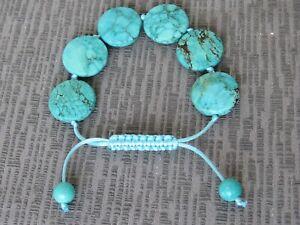 bq26  Semi Precious Stone Turquoise Drawstring Bracelet