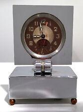 High Art Deco Chrome & Copper French Musical Alarm Clock Circa 1930s