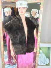 """Vintage Beaver Fur Blanket Stole 66"""" Natural Color Soft Clean Fur"""