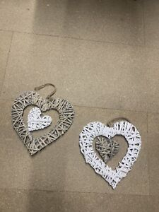 Wicker Woven hanging heart decorations