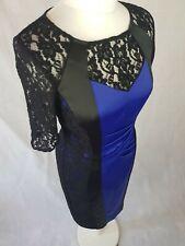 Sz 10 Alexon Pencil Dress Wedding Outfit Special Occasion Blue/Black Satin Lace
